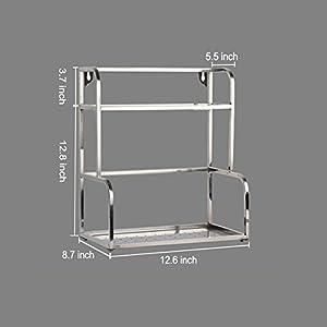 "ANTFEES Kitchen Multipurpose Spice Cabinet Racks Organizer, Stainless Steel Seasoning Shelves Kitchen Storage Holder(11.8"")"