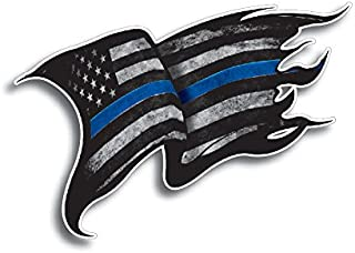 Thin Blue Line Police Officer Tattered Distressed American Flag Decal Sticker