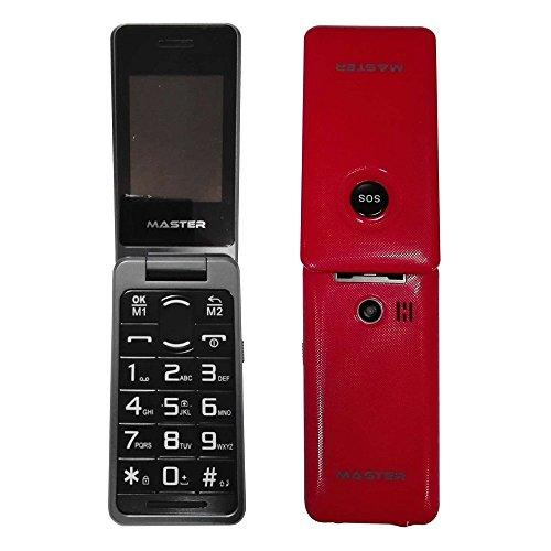 TELEFONO CELLULARE CON TASTI GRANDI TASTO SOS PER ANZIANI DISPLAY 2.4', DUAL SIM, DUAL BAND GSM ROSSO - MF021S