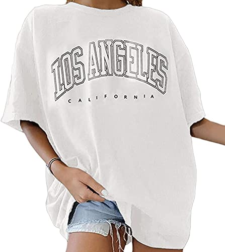 Onsoyours Vintage Oberteile Damen Oversized Tshirt Lustig Streetwear Sonne Mond Motiv Sportshirt Kurzarm Sport Oberteile Sweatshirt Rundhals Teenager Mädchen Top Lang G Z Weiß M