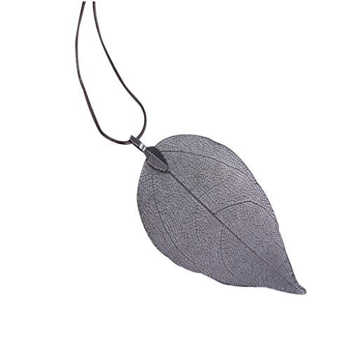 Sayhi Leaves Long Necklace Leaf Sweater Chain Pendant Fashion Accessories Long Chain Jewelry Birthday Gifts(Black,)
