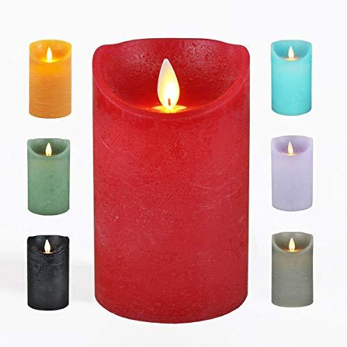 JACK LED Echtwachskerze Kerze viele Farben DREI Größen Timer Ø 7,5cm flackender Docht Wachskerze Kerzen Batterie, Farbe:Rot, Größe:12.5 cm
