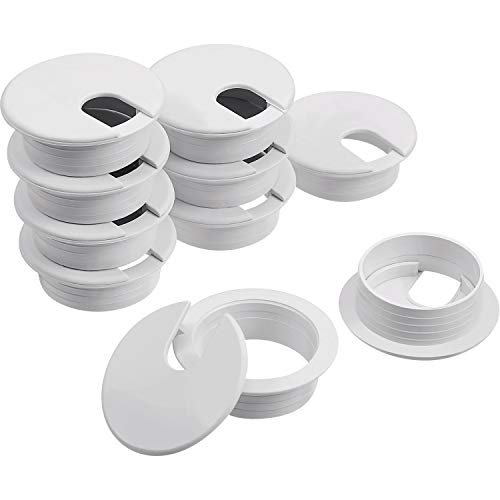 Desk Grommet, Plastic Desk Cord Cable Hole Cover Grommet for Computer Table Wire Organizer for Home and Office, 35 mm/ 1.38 Inch Mounting Hole Diameter (White, 8 Packs)