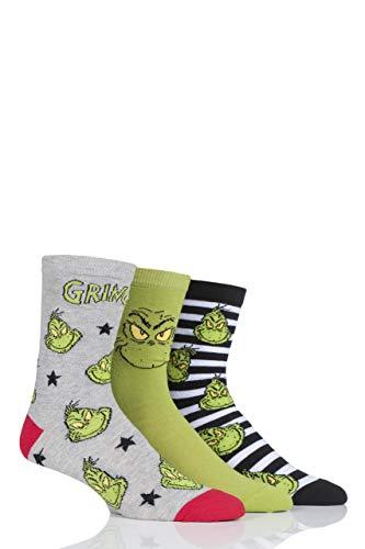 SOCKSHOP Herren und Damen Grinch Baumwolle Socken Packung mit 3 Assortiert 39-45