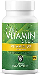Vitamin D3 Plus K Complex 90 Day Supply - NO Fillers, NO Binders, NO Added Ingredients