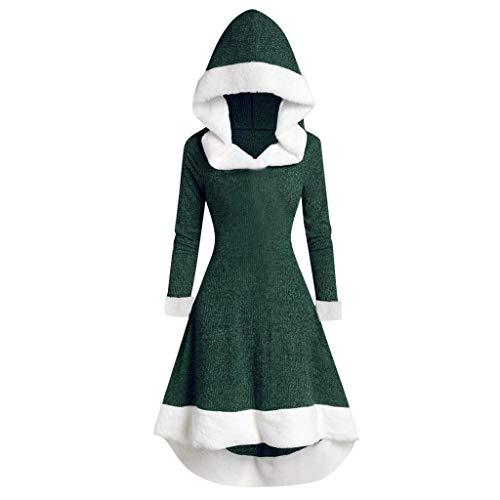Alwayswin Hoodie Mantel Damen Winter Vintage Kleid Mit Kapuze Patchwork Plüsch Partykleid Langarm Mode Weihnachtskleid Einfarbig Elegant Warme Abendkleid O-Ausschnitt Winterkleid