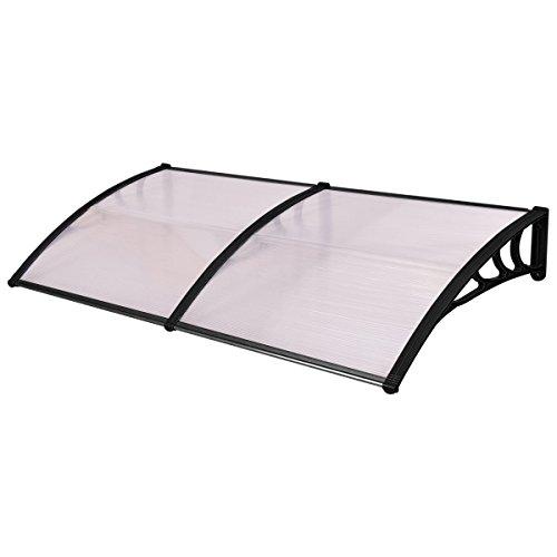 tangkula 101,6x 203,2cm Fenster Sonnensegel Moderne Polycarbonat Front Cover Tür Outdoor Terrasse Himmel Sonne SHETTER 3Farben, schwarz, Window Awning