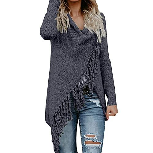 Shopler Chales de punto de manga larga para mujer con cuello en cascada, poncho, mantas, borlas y dobladillo irregular, Negro, L