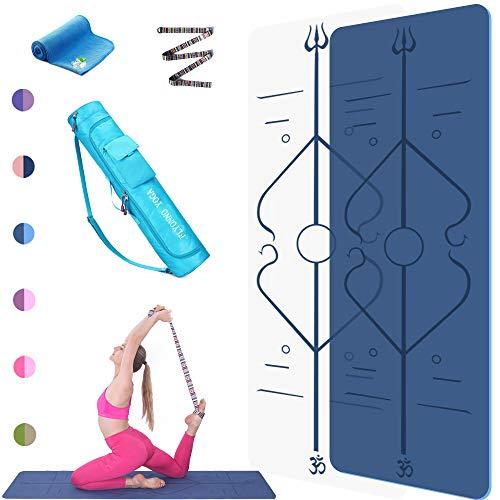 FLYONNO Tapis Yoga Antidérapant,Tapis Fitness Epais - avec Lignes d alignement du Corps - eco Friendly Bodhi Yoga Mat - 6mm TPE Écologique Matériaux 100% Recyclables