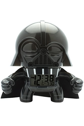 BulbBotz Star Wars 2020008 Darth Vader Kinder-Wecker mit Hintergrundbeleuchtung| schwarz/grau| Kunststoff| 19 cm hoch| LCD-Display| Junge/Mädchen| offiziell
