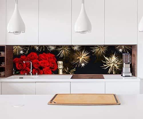 Aufkleber Küchenrückwand Sekt Glas Flasche New Year Sylvester Feuerwerk Folie Fliesen Möbelfolie Spritzschutz 22A967, Höhe x Länge:80cm x 300cm