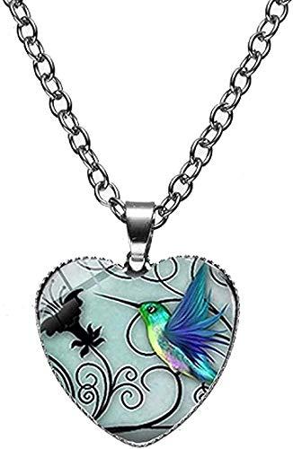 Yiffshunl Collar de Moda Collar de colibrí Azul colibrí pájaro Animales Cristal Arte corazón Colgante Collar Regalo de cumpleaños niñas niños Collar