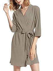 professional SIORO Women's Cotton Robe Light Kimono Robe Soft Knit Robe V-neck Nightwear …