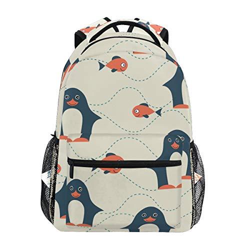 Penguin And Fish Backpacks Travel Laptop Daypack School Bags for Teens Men Women