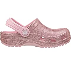Crocs Kids' Classic Glitter Clog, Pink