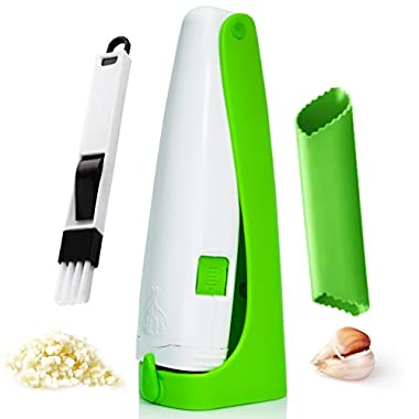 Garlic Cuber With Silicone Peeler Tube And Cleaning Brush,Perfect Set.Professional Garlic Press,Manual Garlic Cutter,Garlic mincer.