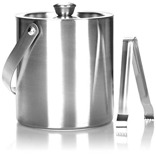COM-FOUR® Secchiello per il ghiaccio in acciaio inossidabile, contenitore per cubetti di ghiaccio a doppia parete con coperchio e pinze, 1,5 litri (Montagne)