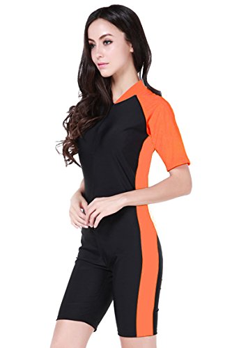 Damen Schwimmanzug Lang UV-Anzug UPF>50 Schutzkleidung Sunsuit Ganzk?rperansicht Badeanzug,  - Orange - L