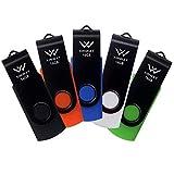 XINWAY 16GB USB 2.0 Flash Drives Thumb Drive Memory Stick, (5 Pack Five Colors: Black White Blue Green Orange)