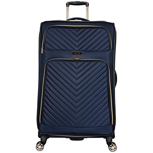 Kenneth Cole Reaction Women#039s Chelsea 28quot Chevron Quilted Softside Expandable 8Wheel Spinner Checked Suitcase Navy Inch