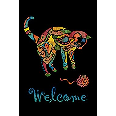 Toland Home Garden Yarn Cat 12.5 x 18 Inch Decorative Welcome Kitty Pet Playing Garden Flag