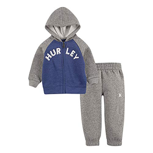 Hurley Baby Boys' Toddler Hoodie and Joggers 2-Piece Outfit Set, Delft Heather/Grey/White, 2T