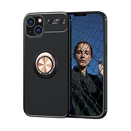 """Compatible con Funda para iPhone 13, Funda Protectora de Silicona Suave Mate, Ajustada, Ajustada, con [Soporte de Anillo] [función Montaje magnético para Coche] para iPhone 13 de 6,1"""",Negro/Oro Rosa"""