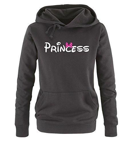 Comedy Shirts - Princess - Comic - Damen Hoodie - Schwarz / Weiss-Pink Gr. M