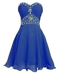 Royal Blue Short Sweetheart Rhinestones Strapless Chiffon Dress
