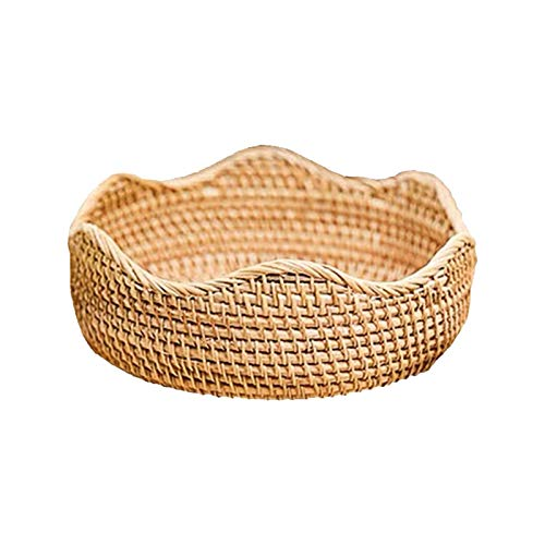 YuzhouGJ Round Rattan Fruit Basket,Wicker Woven Serving Baskets,Bread Fruit Vegetables Snacks Storage for Living Room and Kitchen(22CM)