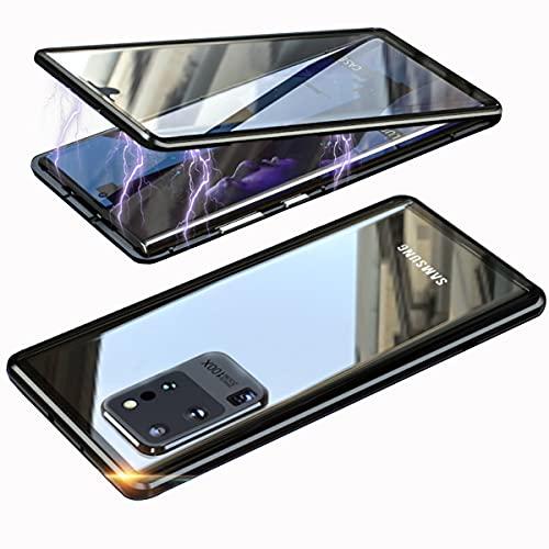 Hülle für Samsung Galaxy S20 Ultra 5G Handyhülle,Magnetische Adsorption 360° Stoßfest Kompletteschut Hülle,Vordere hintere Gehärtetes Glas Dünne Metallrahmen Schutzhülle mit Kameralinseschutz,Schwarz