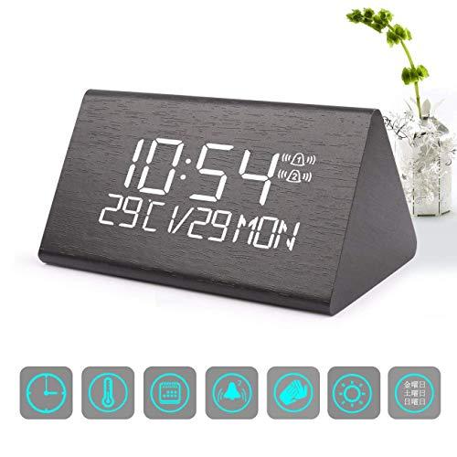 目覚まし時計 デジタル時計 ウオームホーミング木質製デジタルアラームは、7級の明るさ調節機能を備え、音声コントロールできるデジタルLEDベッドサイドトラベル三角形アラームは、時間、日付、温度を表示することができて、寝室やオフィス及び家にてよく適用されている