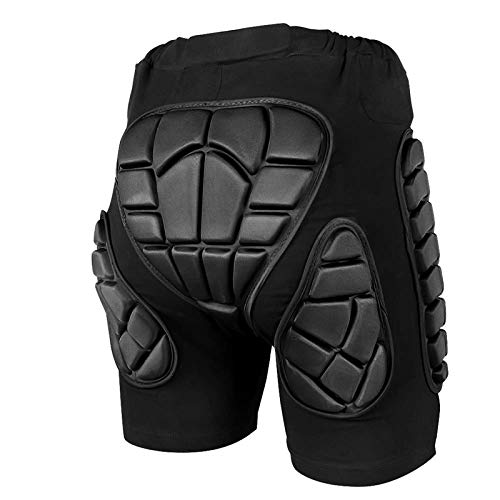 ZIONOR 3D Protective Padded Short Pants Hip Butt EVA for Ski Snowboarding (XS) Black