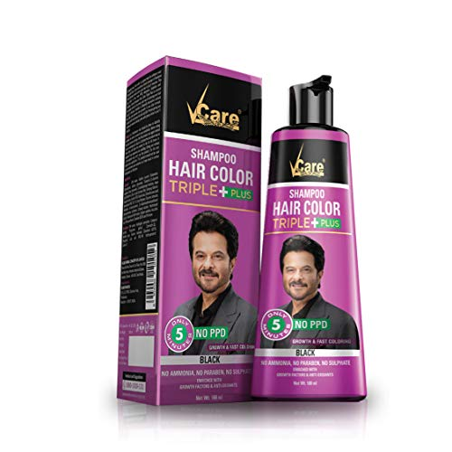 VCare Shampoo Hair Color Triple Plus, Black, 180 ml
