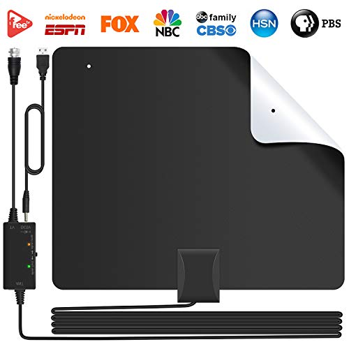 [2019 Version] Lesoom 85+ Miles HD TV Antenna V0 Fireproof PC Material Indoor Digital HDTV Antennas with Smart Amplifier,Support 1080P 4K VHF UHF for Local Channels Broadcast Fire TV Stick All Old TV