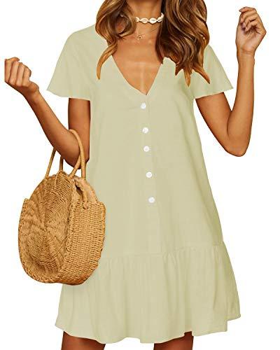 YOINS - Vestido de verano para mujer, manga corta, cuello en V, blusas de gasa con botones