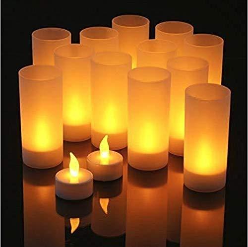 Gearmax® 12er LED Kerzen Set LED Teelichter Wiederaufladbare Kerzen mit Windschutz und Ladestation