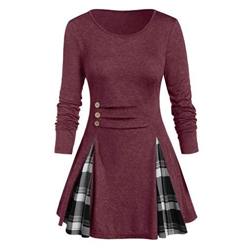 Buy Discount YAnGSale Top Women Blouse Casual O Neck Slim Pullover Plaid Pleated Hem Shirt Plus Size...