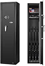 LANGGER V Biometric Gun Safe for Rifle, Upgraded Quick Access 4-Gun Large Rifle Gun Security Cabinet for Rifle Shotgun Firearms, with 2 Removable Storage Shelves
