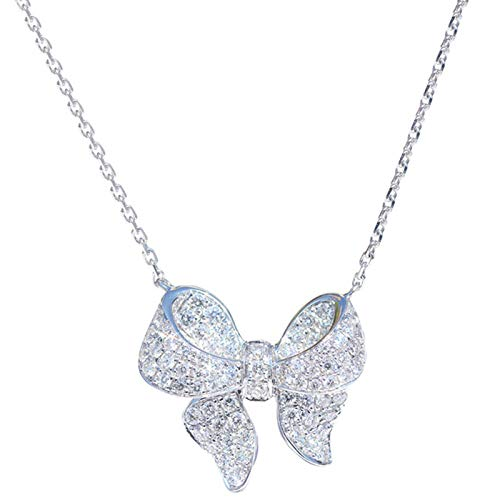 DGFGCS Ladies silver necklace Luxury White Zircon Crystal Gemstone Cz Bowknot Necklace For Women Clavicle Chain Jewelry Wedding Gift