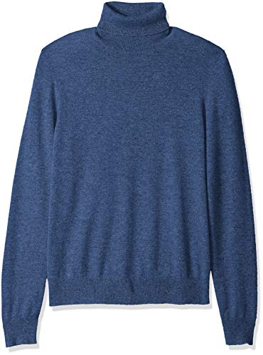 Amazon Brand - Buttoned Down Men's 100% Premium Cashmere Turtleneck Sweater, Blue, Medium
