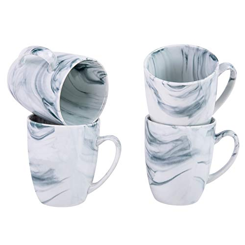 Cutiset 12 Ounce Unique Accent Stylish Marble design ceramic coffee mug set, set of 4