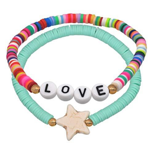 Amosfun 2 pulseras de arcilla polimérica con letra de amor, cuentas de disco arco iris, pulseras elásticas para verano, playa, bohemio, apilables, joyería para mujer