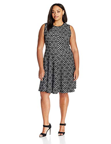 Calvin Klein Women's Plus Size Laser Cut Flare Dress, Black, 24W