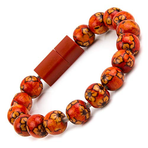 Authentic Wood Beaded Bracelet Charger Compatible with iPhone and iPad, Data Link Transferable (Crimson Red)