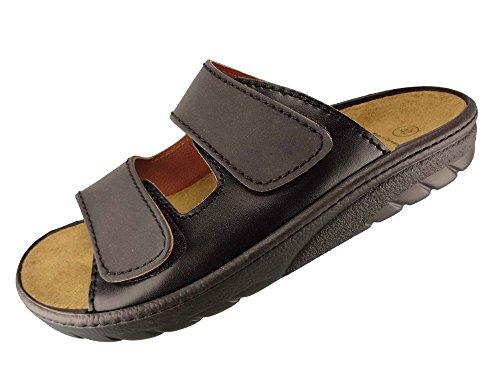 Algemare Herren Pantolette Schwarz Nappa Nubuk Algen-Kork Wechselfußbett Leder 7260_1392 Fußbettsandale Sandalette, Größe:43 EU