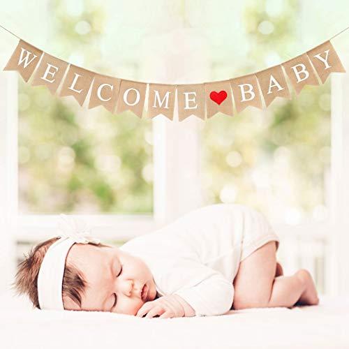 Crazy-M Vintage Leinen Welcome Baby Banner Rustikal Leinen Buchstaben Wimpel Girlande 2.8 M Haus Dekoration für Zuhause, Party, Empfang, Babyparty Rustikal Bunting Wimpelkette mit 12 STK Wimpeln