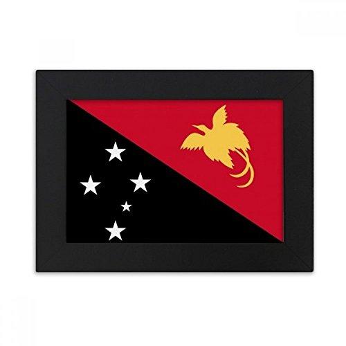 DIYthinker Papua-Neuguinea National Flagge Ozeanien Land Desktop-Bilderrahmen Schwarz Bild-Kunst-Malerei Passt 10.2 x 15.2cm (4 x 6 Zoll) Bild Mehrfarbig