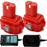 Creabest 2Pack 3.5Ah Compatible with Makita 9.6V Battery A09 9100 9120 9122 9133 9134 9135 9135A, Include 1.2V-18V Ni-MH/Ni-CD Battery Charger