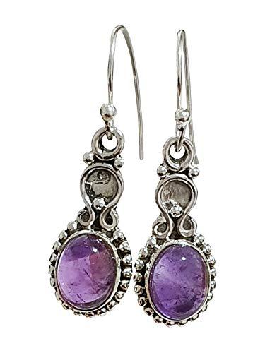 TreasureBay 925 Sterling Zilver en Natuurlijke Amethist Edelsteen Dangledrop Oorbellen voor Vrouwen